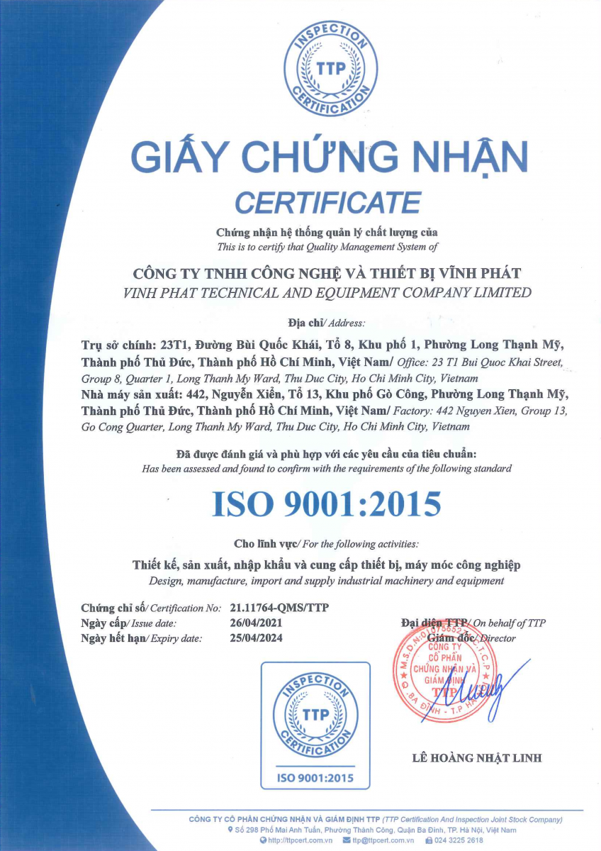 Công ty TNHH Công Nghệ Và Thiết Bị Vĩnh Phát được chứng nhận ISO9001:2015