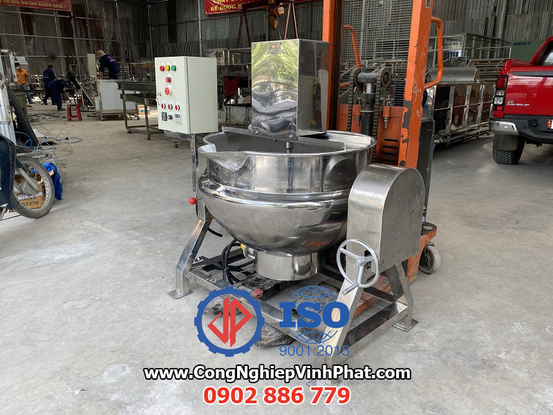 Chảo xào công nghiệp chất lượng cao, máy sên mứt, máy xào thực phẩm giá rẻ Vĩnh Phát cung cấp