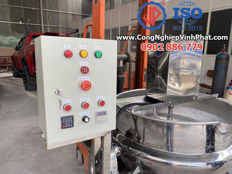 Tủ điện của chảo xào công nghiệp, máy sên nhân bánh, máy sên mứt Vĩnh Phát lắp cho máy