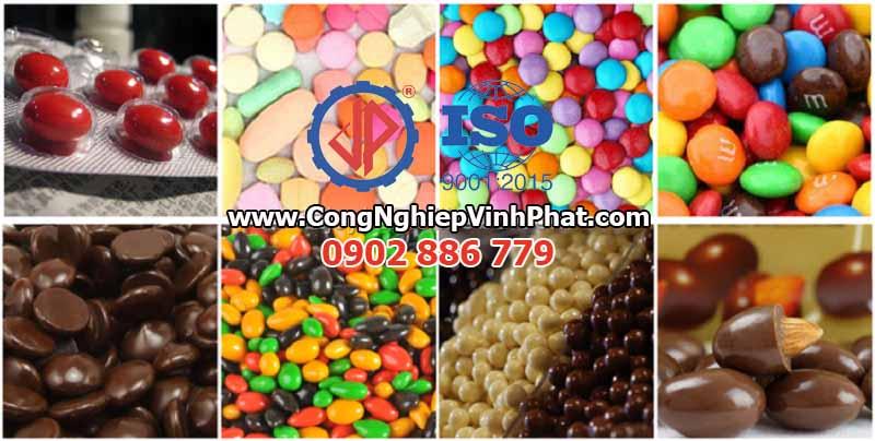 Các sản phẩm của máy phủ socola cho hạt, máy bọc bột hạt, máy vê hạt nông sản Vĩnh Phát