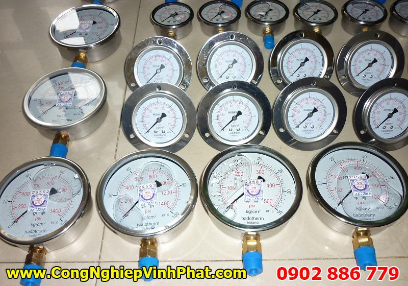 Các chủng loại đồng hồ đo áp suất Badotherm Holland chân đứng, chân sau, có vành 3 lỗ