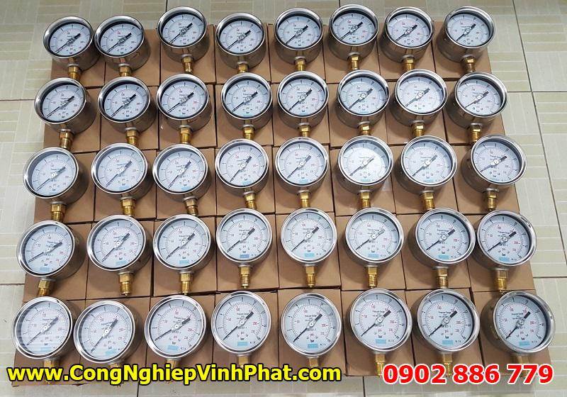 Đồng hồ đo áp suất Yamaki vỏ inox chân đồng cho ứng dụng đo áp lực nước