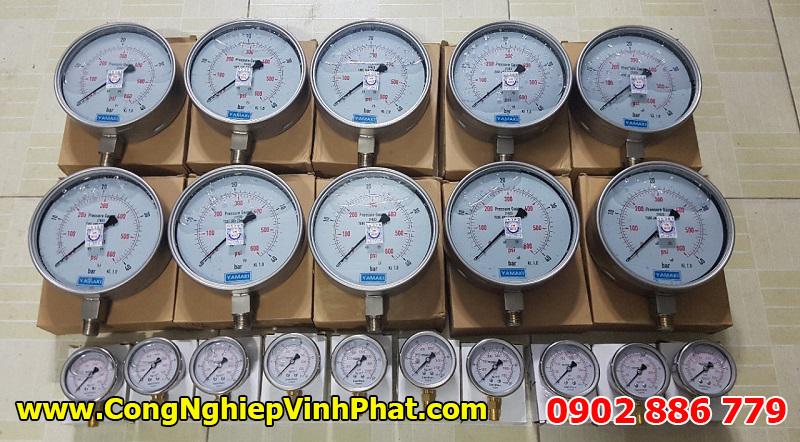 Đồng hồ đo áp suất Yamaki full inox, mặt kính 150mm, đã kiểm định