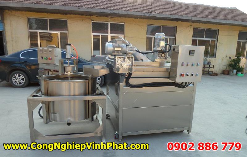 Hệ thống máy chiên và tách dầu công nghiệp, máy ly tâm tách dầu giúp tiết kiệm